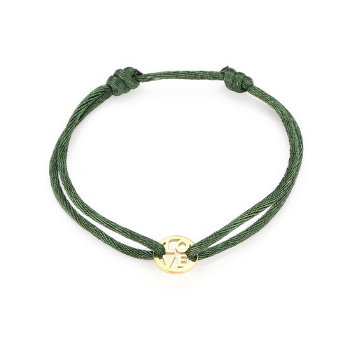 Oh So HIP Satijnkoord armband met ring Love groen