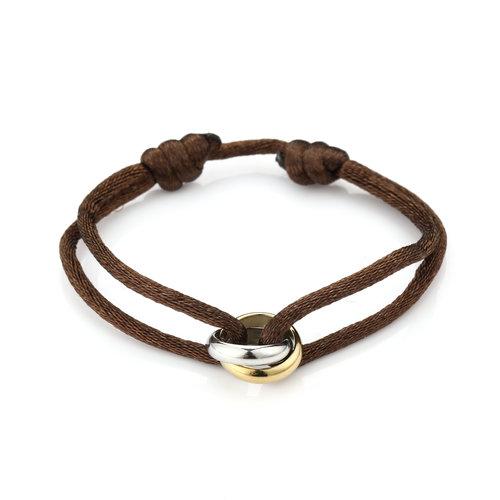 Oh So HIP Satijnkoord armband met 2 ringen bruin