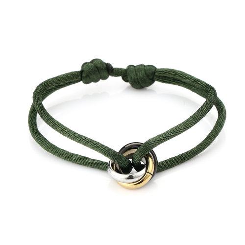 Oh So HIP Satijnkoord armband met 3 ringen groen