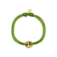 Satijnkoord armband met 3 ringen groen