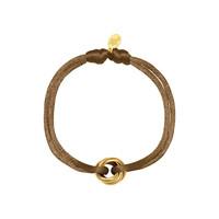 Satijnkoord armband met 3 ringen licht bruin