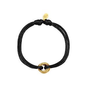 Satijnkoord armband met 3 ringen zwart