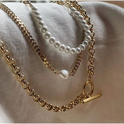 Rocky Rosa Lisa necklace parel & schakels ketting