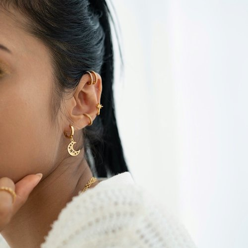 Ear cuff dubbel gold plated