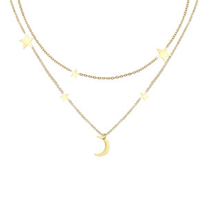Moon & stars ketting stainless steel