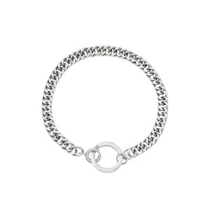 Stainless steel armband met ring zilverkleurig