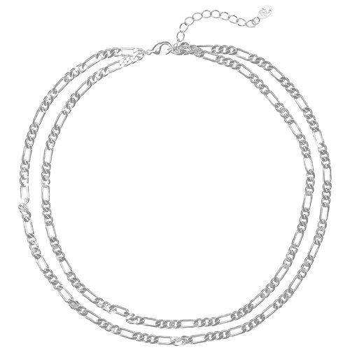 Schakelketting double chain necklace zilverkleurig