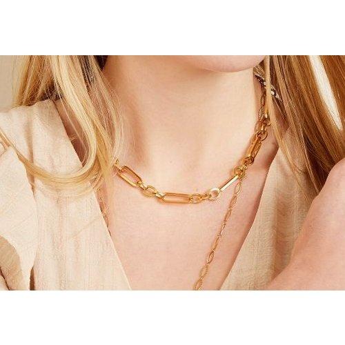 Schakel chain necklacezilverkleurig