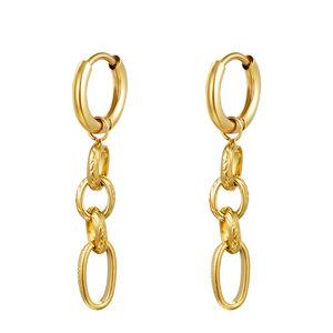 Oorring chains goudkleurig stainless steel
