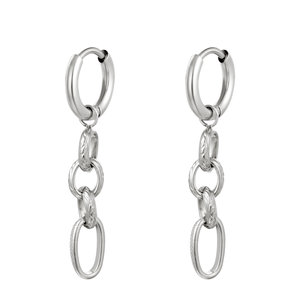Oorringen chains zilverkleurig stainless steel
