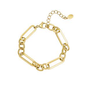 Schakelarmband chains goudkleurig