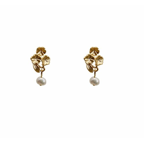 À La Oorknopjes flower/pearl gold plated