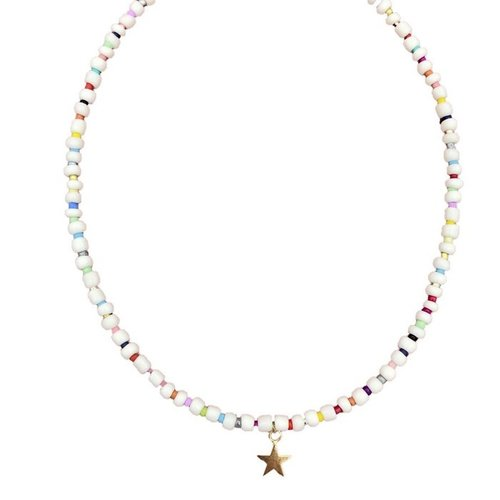 Boho-Beach Witte kralenketting multicolour