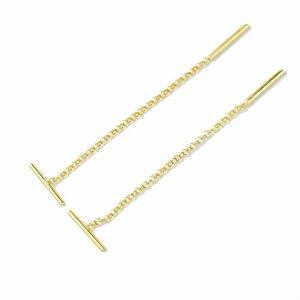 Threader oorbellen Bar gold plated