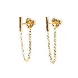 Oorbellen Bar & Chain goud