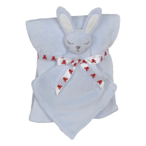 Embroider Buddy Bunny Blanket Set, Blue