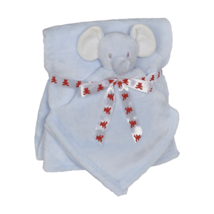 Embroider Buddy Elephant Blanket Set, Blue