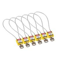 Nylon veiligheidshangslot met kabel geel 146121