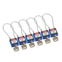 Nylon safety padlock blue with cable 146122