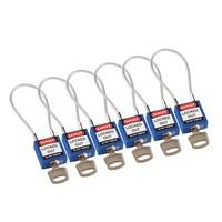 Nylon veiligheidshangslot met kabel blauw 146122