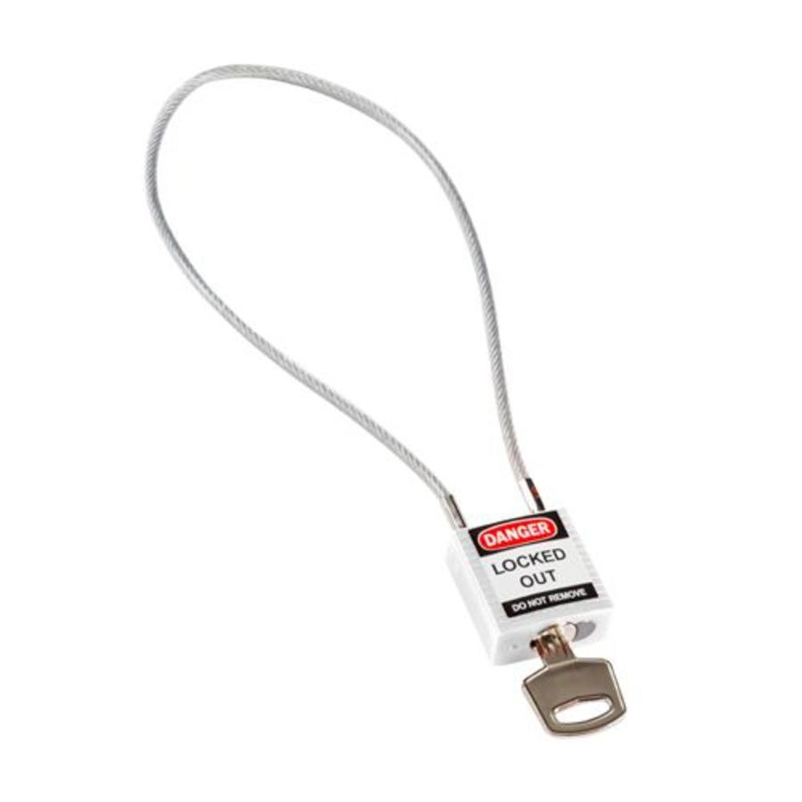 Nylon safety padlock white with cable 195939