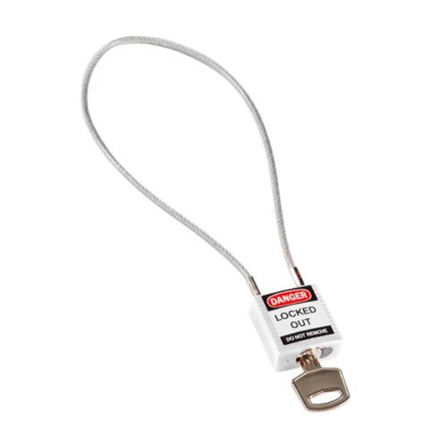 Nylon veiligheidshangslot met kabel wit 195939