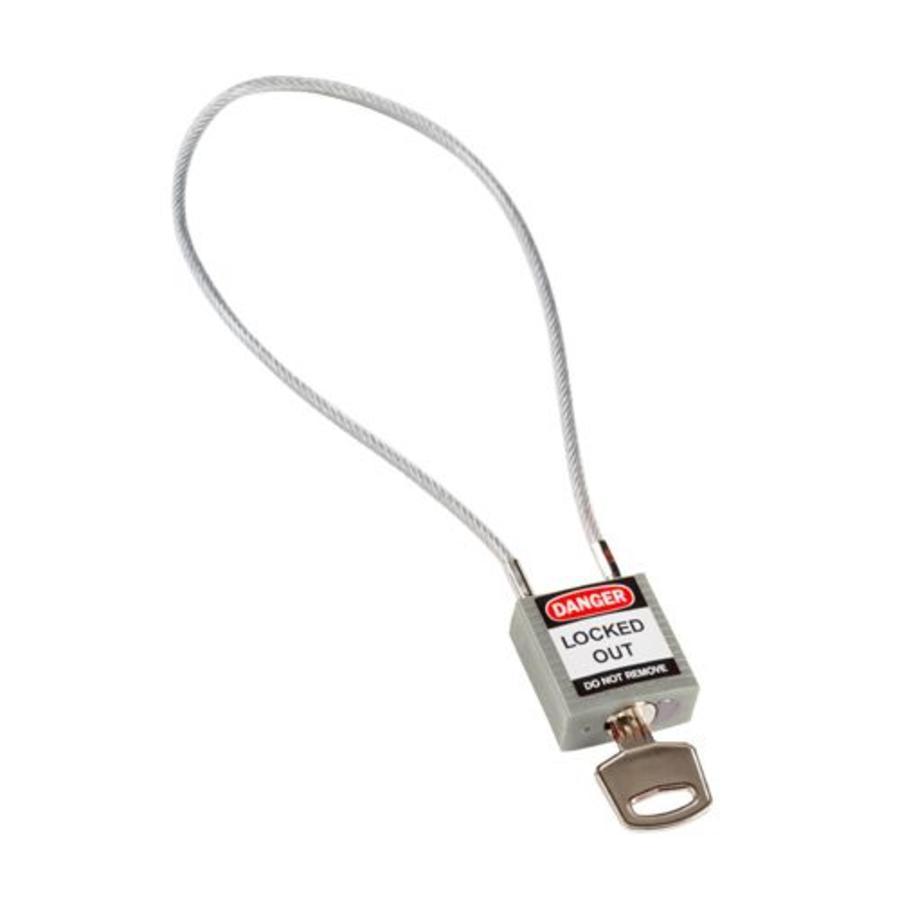 Nylon veiligheidshangslot met kabel grijs 195936