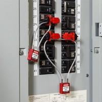 Nylon veiligheidshangslot met kabel zwart 195934