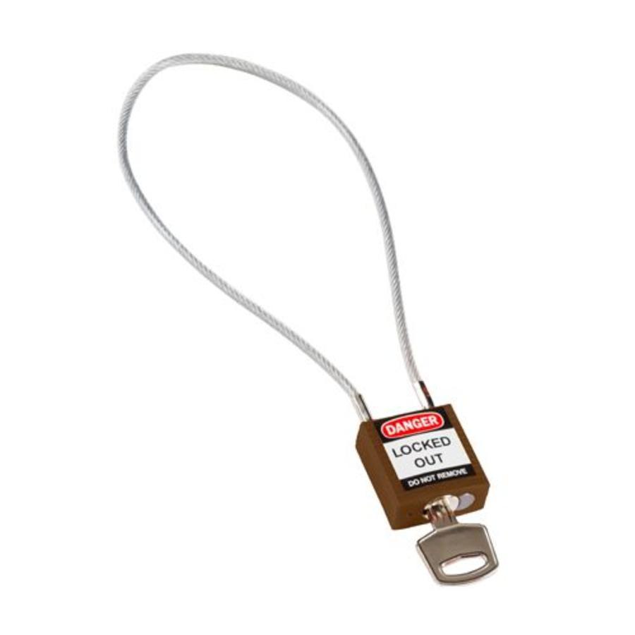 Nylon veiligheidshangslot met kabel bruin 195935