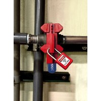 Adjustable ball valve lock-out S3081D in blister packaging.