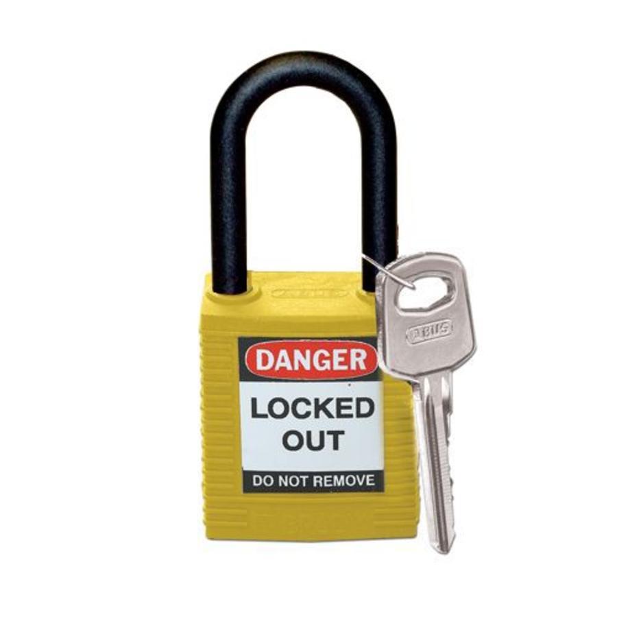 Nylon veiligheidshangslot geel 813596