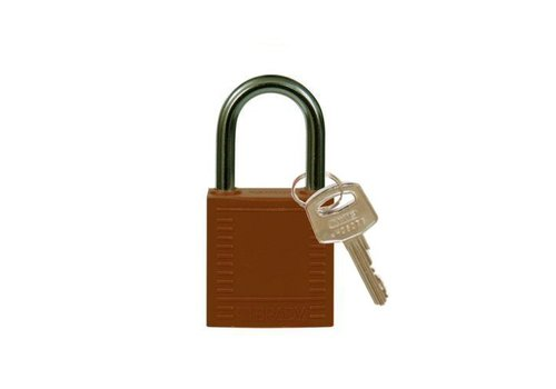 Nylon compact veiligheidshangslot bruin 814112