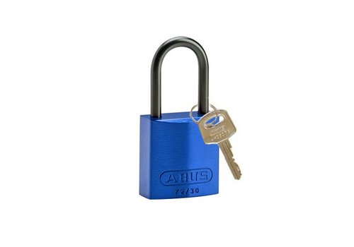 Anodized aluminium safety padlock blue 834862