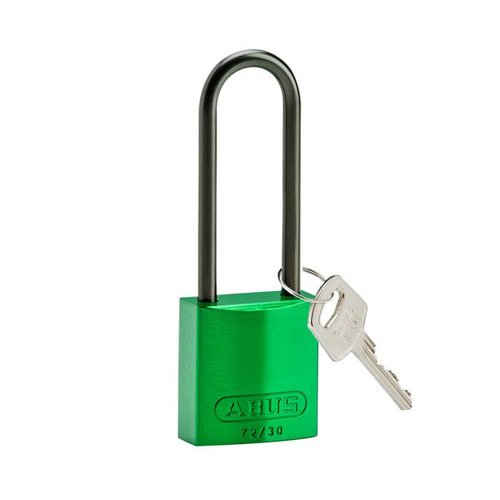 Anodized aluminium safety padlock green 834878
