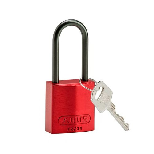 Anodized aluminium safety padlock red 834870