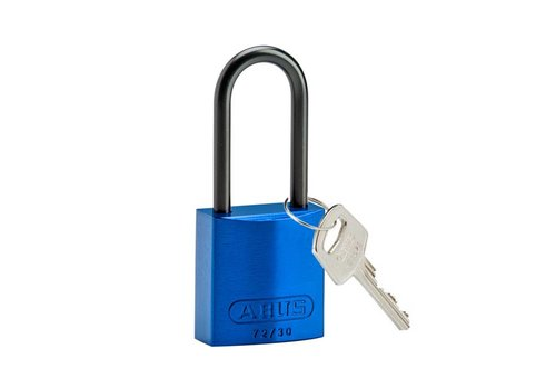 Anodized aluminium safety padlock blue 834868
