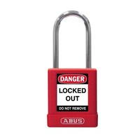 Aluminum safety padlock with red  cover 77569
