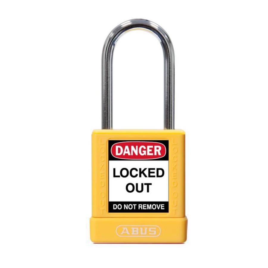 Aluminium veiligheidshangslot met gele cover 77567
