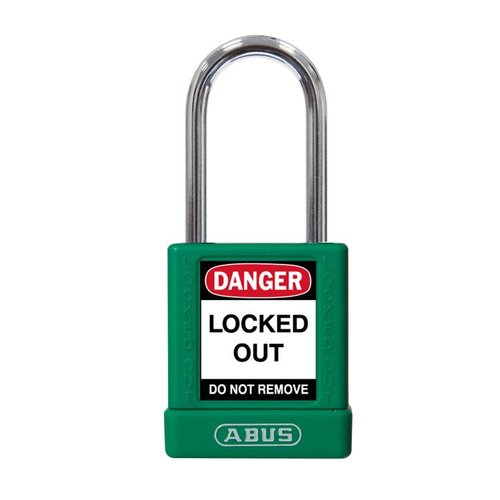 Aluminum safety padlock with green  cover 74BS/40 GRÜN
