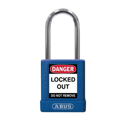 Aluminum safety padlock with blue  cover 74BS/40 BLAU