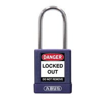 Aluminum safety padlock with purple cover 77573