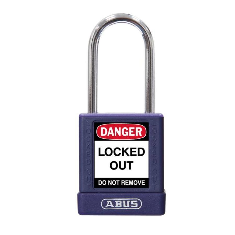 Aluminium veiligheidshangslot met paarse cover 77573
