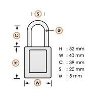 Aluminium veiligheidshangslot met rode cover 74BS/40 ROT