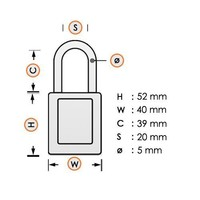 Aluminum safety padlock with white cover 74BS/40 WEIß