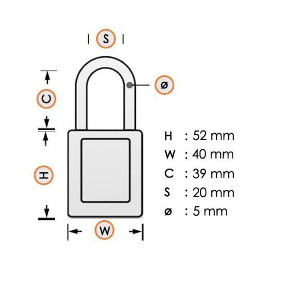 Aluminium Sicherheits-vorhängeschloss mit weiß Abdeckung 77574