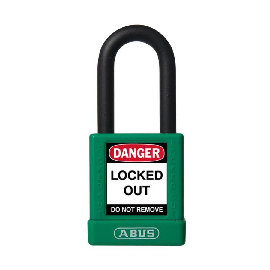 Aluminum safety padlock with green cover 74/40 GRÜN