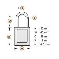 Aluminium veiligheidshangslot met paarse cover 59115