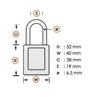 Aluminium veiligheidshangslot met witte cover 74/40 WEIß