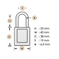 Aluminum safety padlock with white cover 58978