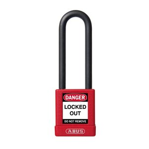 Abus Aluminum safety padlock with red cover 59116